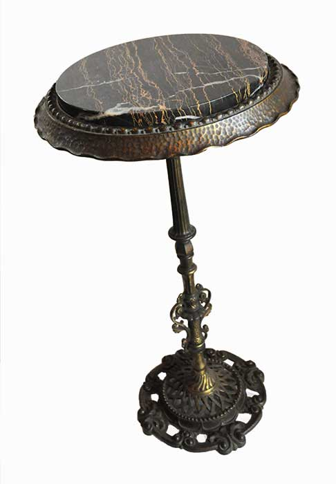 Iron Plant Stand/Pedestal, with Marble Top