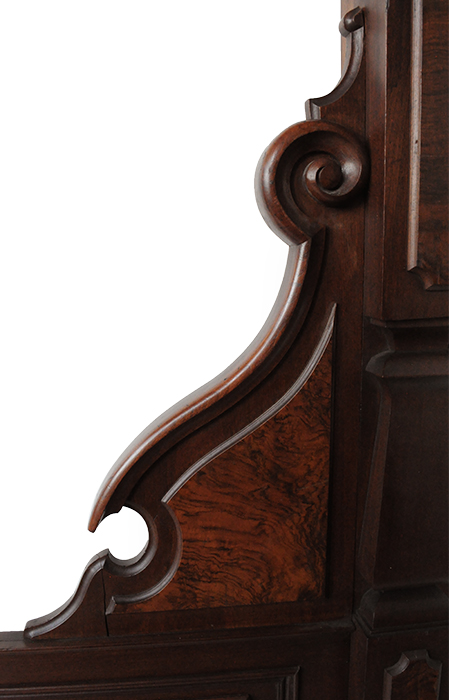 Stunning Renaissance Revival Walnut Burl Bed, with High Headboard