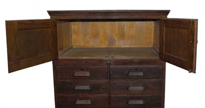 Double-Column Oak Flat File, with Drawers & Cabinets