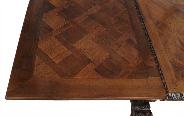 French Carved Figural Walnut Table, Circa 1880