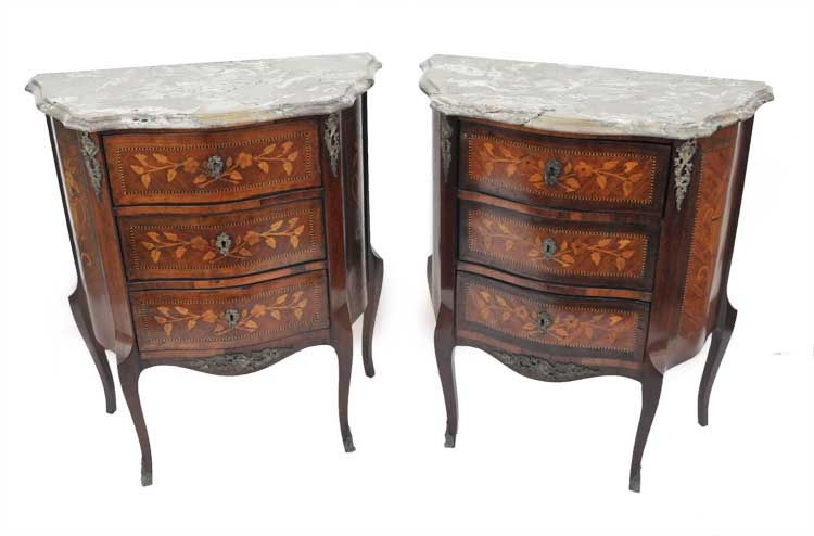 Pair of Marble-Top, French Louis XV-Style Side Tables