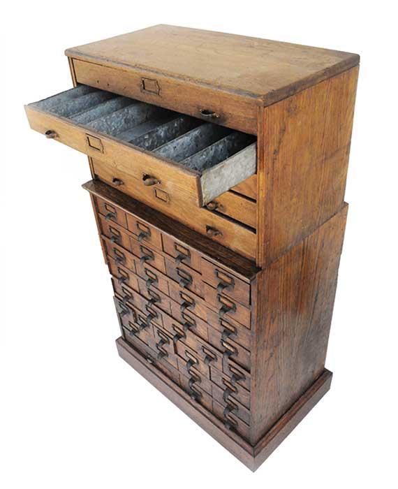 Two-Stack Oak Filing Cabinet
