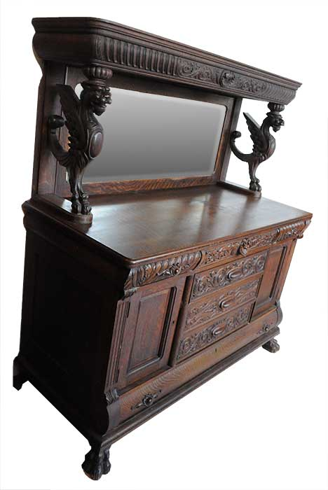 Finely Carved Oak Sideboard With Griffins Amp Back Mirror