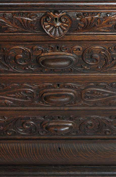 Finely Carved Oak Sideboard, with Griffins & Back Mirror