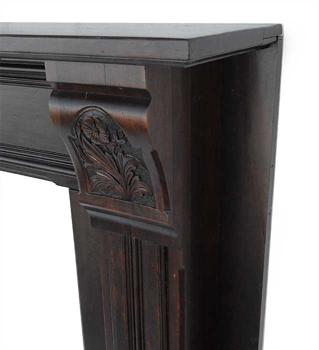 Walnut Half Mantel, with Carved Corbels
