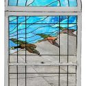 3-Piece, Arched Stained Glass & Clear Glass Landing Window, with Duck Figures