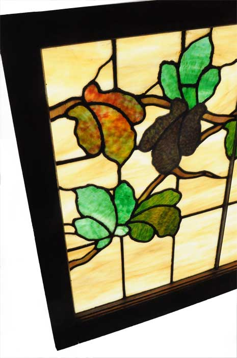 Pastoral Stained Glass Window, with Vine and Leaves