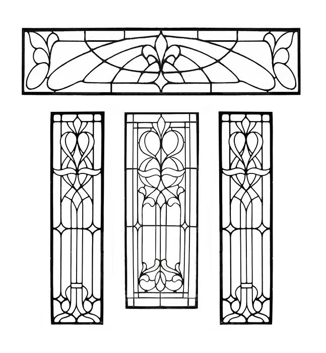 Four-Piece, Beveled-Glass Door Set, with Sidelights & Transom