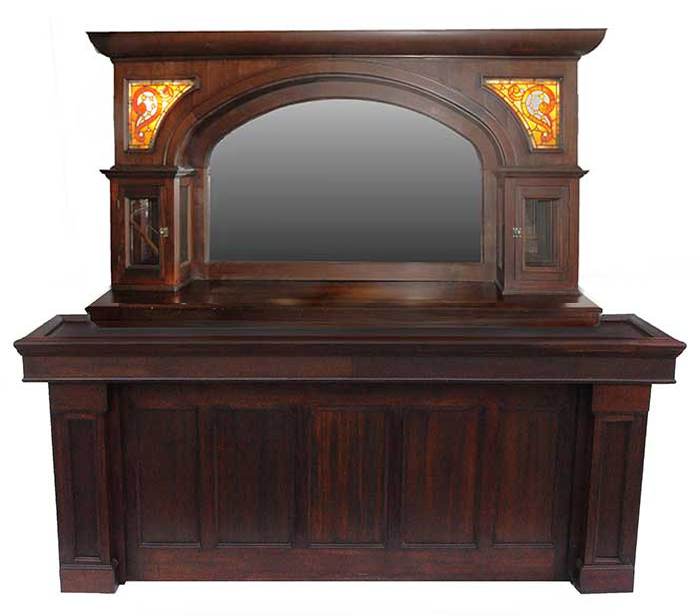 Mahogany Front & Back Bar, with Arched Mirror & Stained Glass