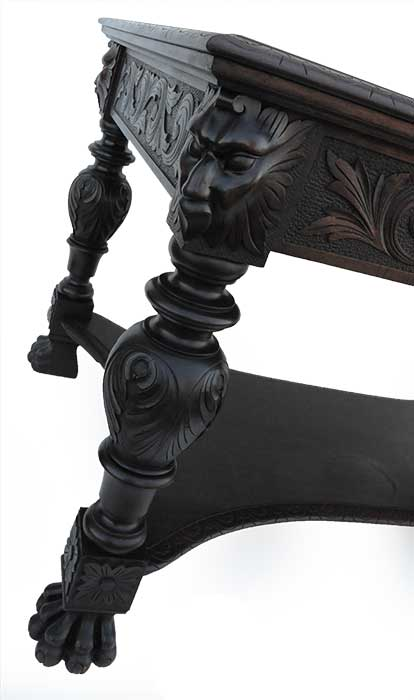 Deeply Carved Mahogany Robert Mitchell Library Table