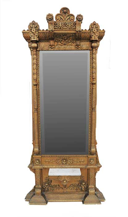 Aesthetic-Style Pier Mirror, with Beveled Glass and Marble Shelf