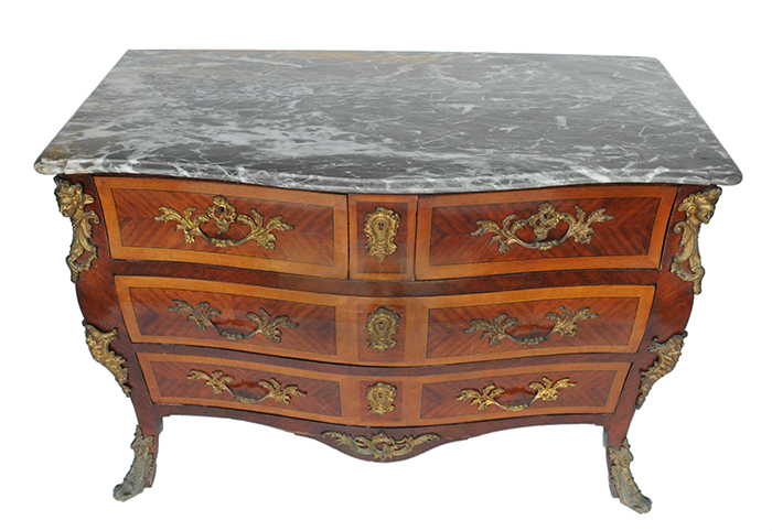 1920s-era Louis XV-Style Commode, with Grey-Swirled Marble Top & Filigree