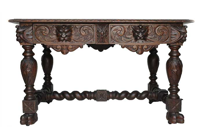 Carved Oak Library Table, with Gargoyles