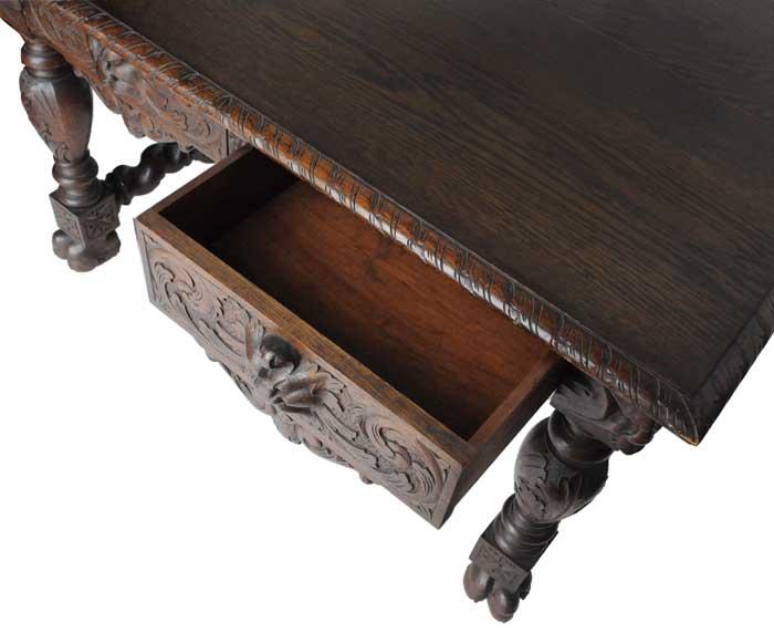 Astounding Carved Oak Library Table With Gargoyles Wooden Nickel Download Free Architecture Designs Oxytwazosbritishbridgeorg