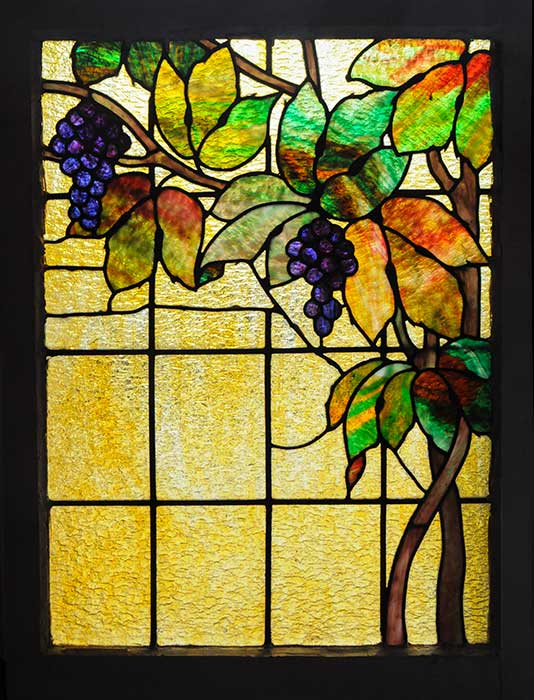 Stained Glass Window, with Grapes, Vine & Leaves