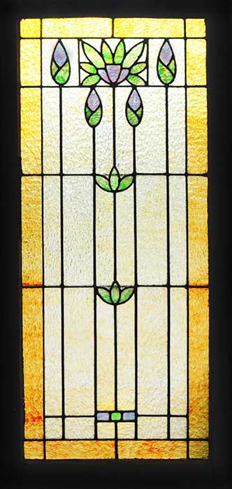 Rectangular Stained Glass Window, with Green & Purple Floral Motif