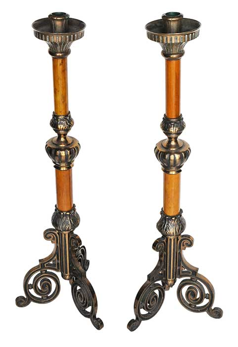 Two Pairs of Ornate Ceremonial Candle Stands