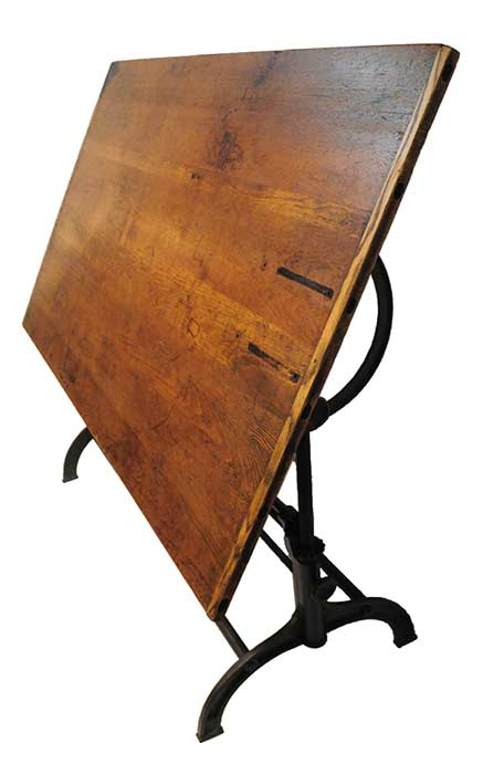 Wooden Drafting Table, with Adjustable Metal Base