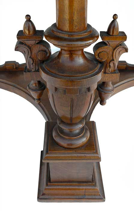 Walnut Victorian Console Center Table, with Flip-Top Leaf