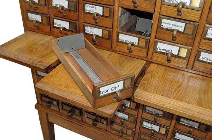 60-Drawer Oak Library Catalog Cabinet