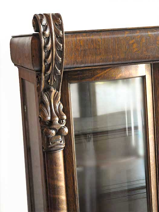 Three-Door, Tiger-Grain Oak China Cabinet, with Carved Griffins