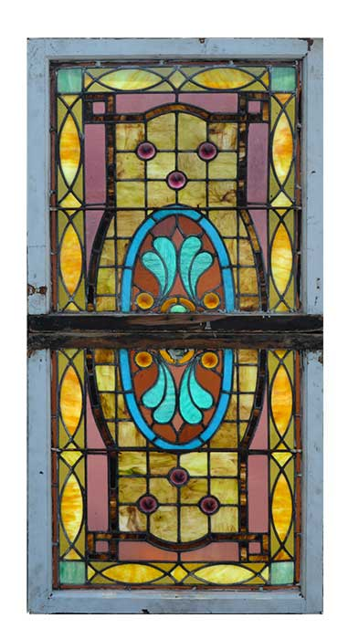 Two-Piece Stained Glass Window, with Unusual Jewel-Cut Accents