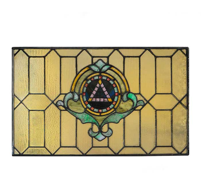 Small Stained Glass Panel, with Masonic Emblem