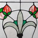 Large, Beveled, Stained Glass Window, with Fleur-de-Lis Centerpiece