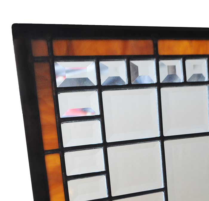 Pair of Beveled Glass Panels, with Stained Glass Borders
