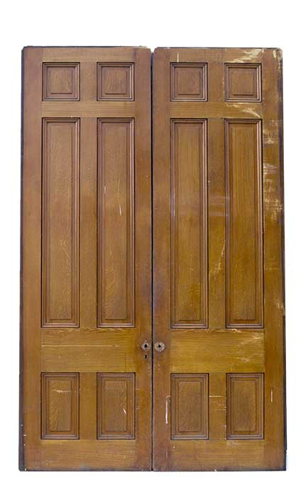 Two-Door Set of Tall Pocket Doors, with Recessed Panels