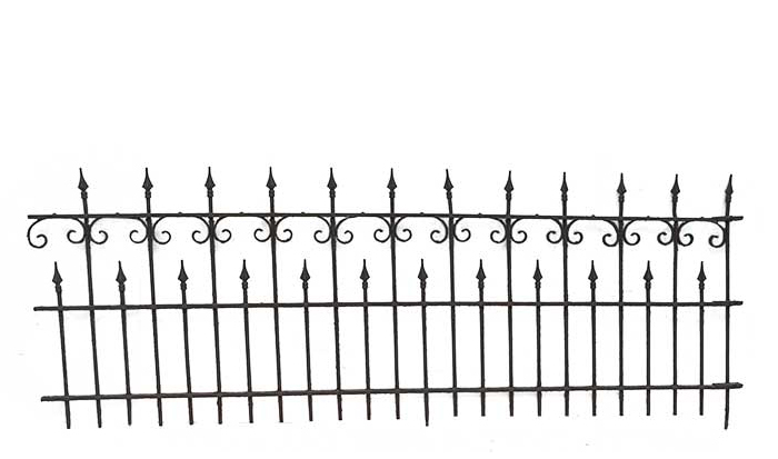 Four-Piece, Wrought-Iron Fencing, with Pointed Spindles