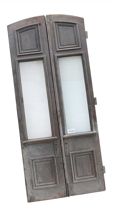 Two Arched Entry Doors, with Glass Panels