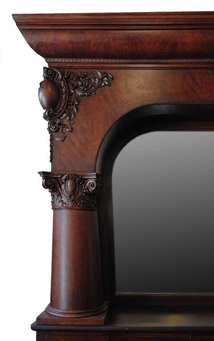 Single-Arch Mahogany Back Bar, with Large Mirrors