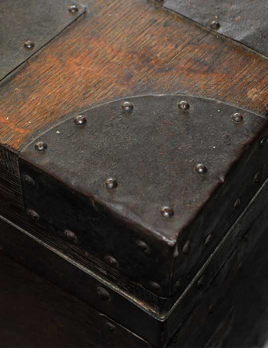 Wooden Trunk, with Metal Straps
