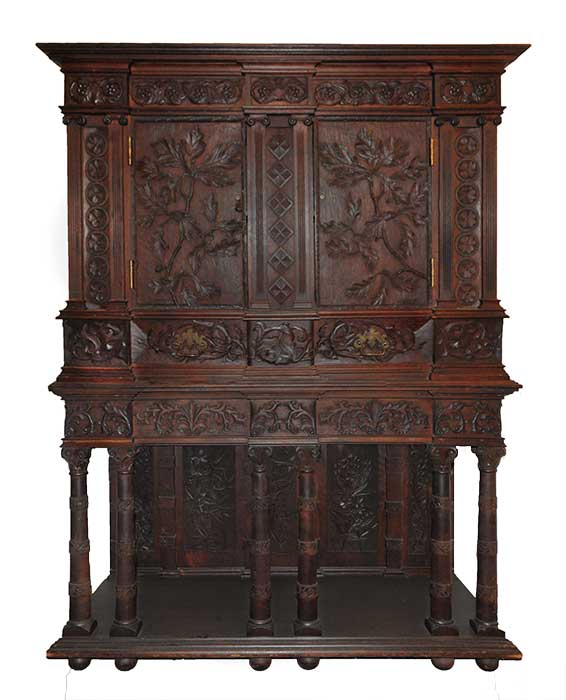 Cincinnati Art-Carved Walnut Cabinet, with Front and Side Doors