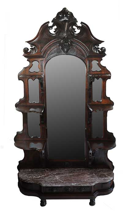 Ornate, Multi-Mirror Walnut Etagere, with Marble Shelf