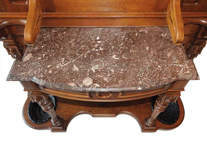 Walnut Renaissance Revival Hall Tree, with Marble Counter