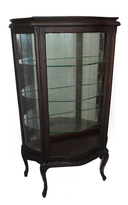 Small Oak China Cabinet, with Glass Shelves