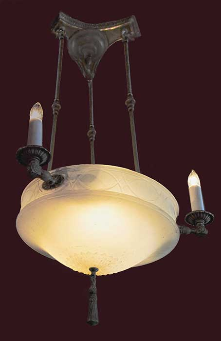 Three-Armed Bowl Light with Candle Fixtures
