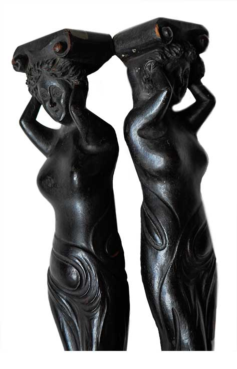 Pair of Carved Mahogany Lady Figures