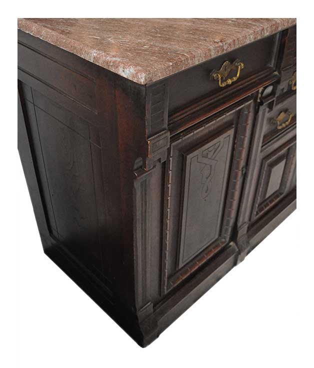 Eastlake Carved Walnut Sideboard, with Marble Counter