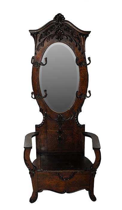 Oak Hall Seat, with Beveled Oval Mirror