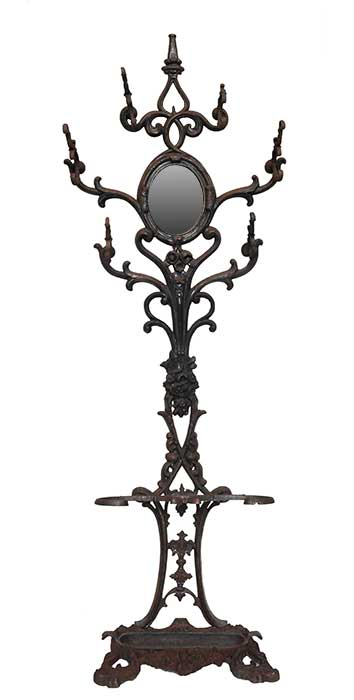 Six-Armed Iron Hall Tree, with Small Center Mirror