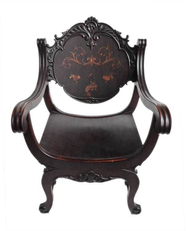 Mahogany Campaign-Style Chair, with Inlays
