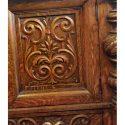 Carved Oak Sideboard, w/Large Beveled Mirror