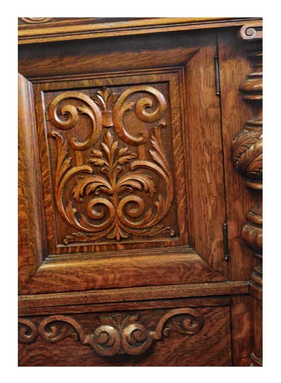 Carved Oak Sideboard W Large Beveled Mirror Wooden