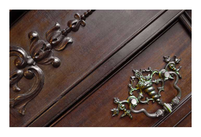 Highly Carved Mahogany Sideboard, w/Large Beveled Mirrors