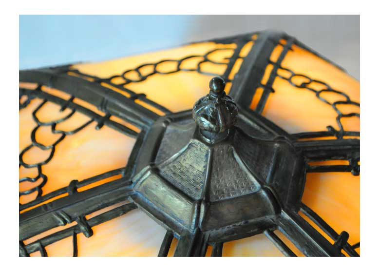 Artful Decorative Lamp, with Filigree Metal Trim