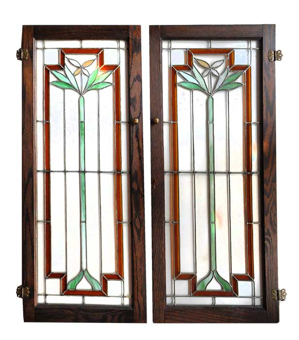 Pair of Arts & Crafts Cabinet Doors, with Clear & Stained Glass Windows