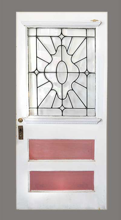 Painted Wooden Door, with Beveled Glass Window